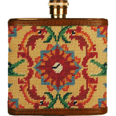 Tick Tock Needlepoint Flask