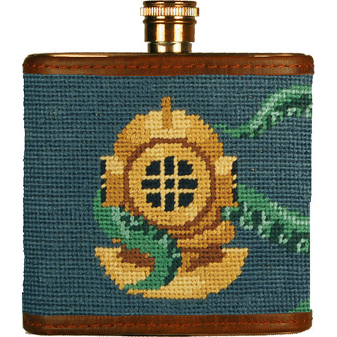 Scuba Helmet Needlepoint Flask