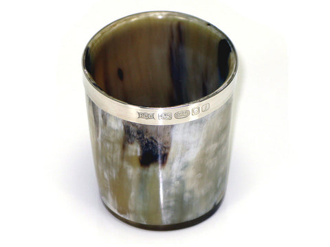 A Pair of Sterling Silver Ox Horn Whiskey Tumblers