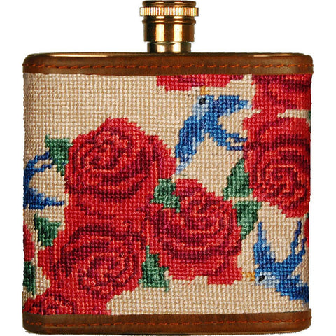 Rose Print Needlepoint Flask