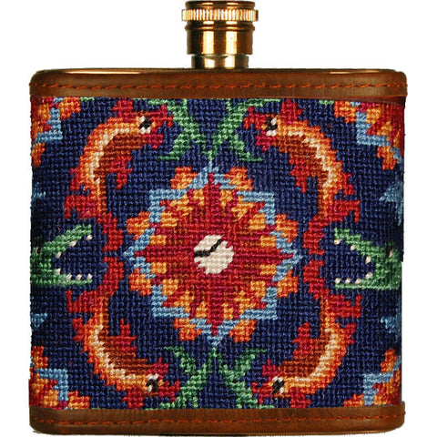 Tick Tock (Navy) Needlepoint Flask