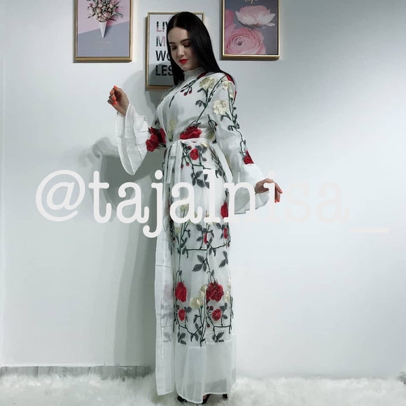 White/Red Embroidered Kimono