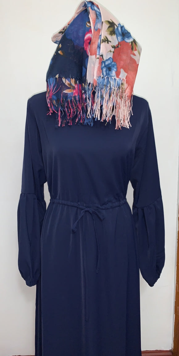 Navy Bubble Sleeve Dress
