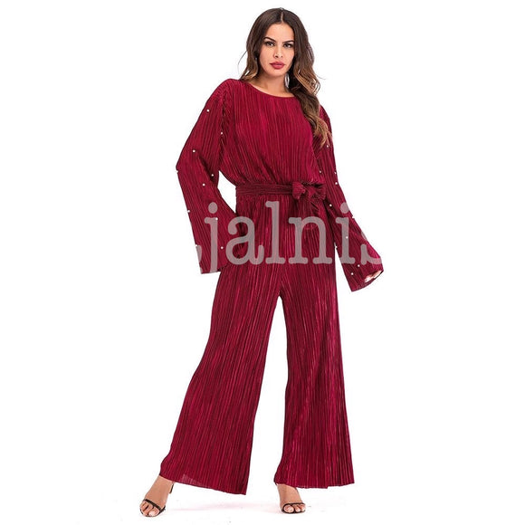 Maroon Pleated Romper