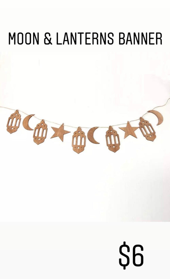 Moon, Star & Lantern Wooden Banner