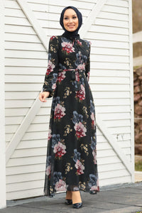 Black Floral Chiffon Dress