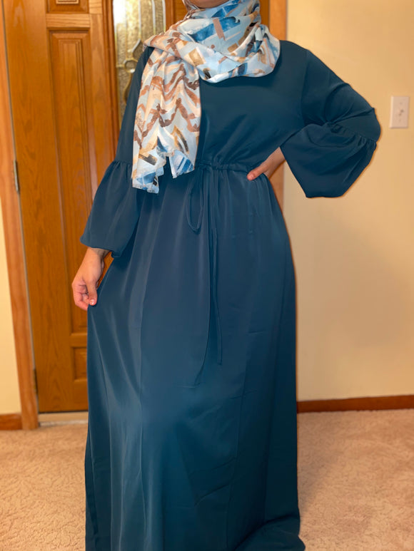 Teal Bubble Sleeve Abaya