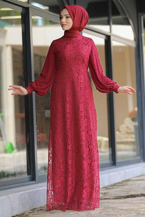 Maroon Pearly Lace Dress