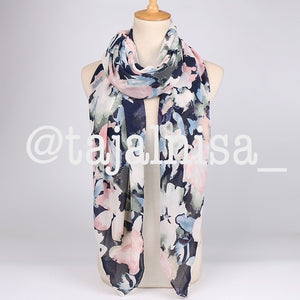 Navy Floral Square Chiffon Scarf