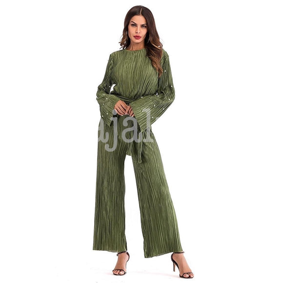 Olive Pleated Romper