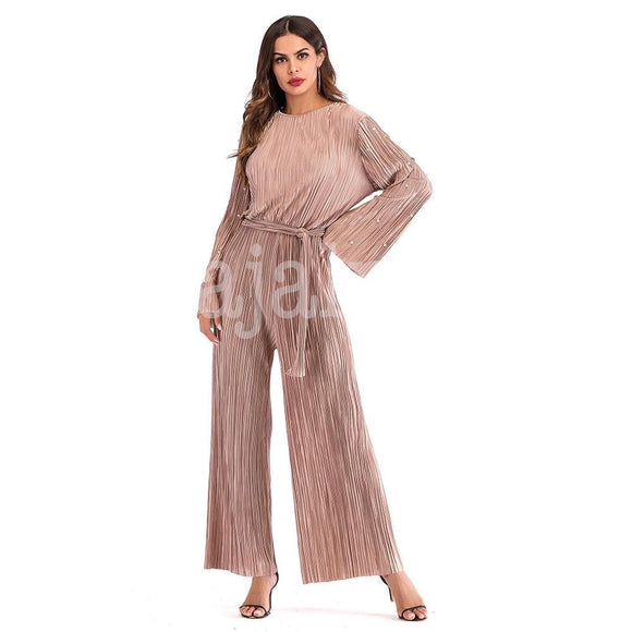 Nude Pleated Romper
