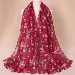 Red Floral Cotton Scarf