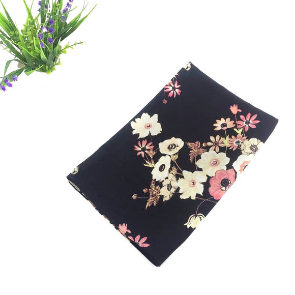 Black Floral Bubble Chiffon