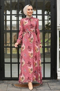Rose Floral Chiffon Dress