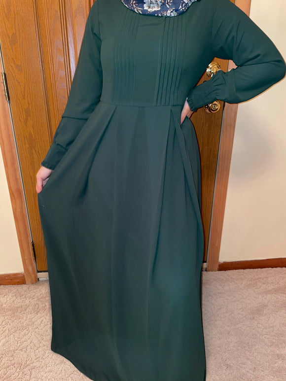 Forest Green Chiffon Dress
