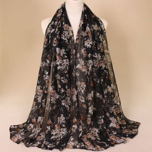Black/Brown Cotton Scarf