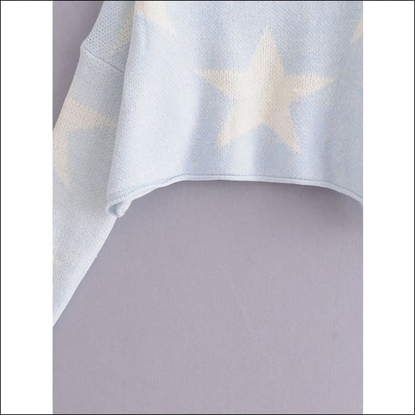 Drop Shoulder Star Pattern Sweater - Womens Clothing