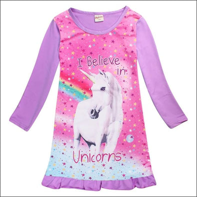 Kids Unicorn Rainbow Nightgown - Girls Sleepwear