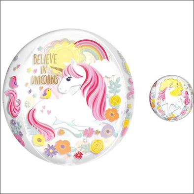 Magical Unicorn Balloon - See Thru Orb - Unicorn Party Supplies