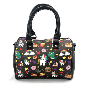 Sleepyville Critters - Unicorn And Junkfood Collage Satchel In Vinyl Material