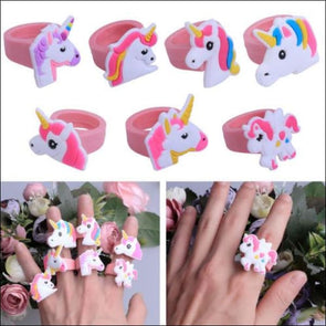 Unicorn Rings Set Of 10 - Unicorn Party Favors