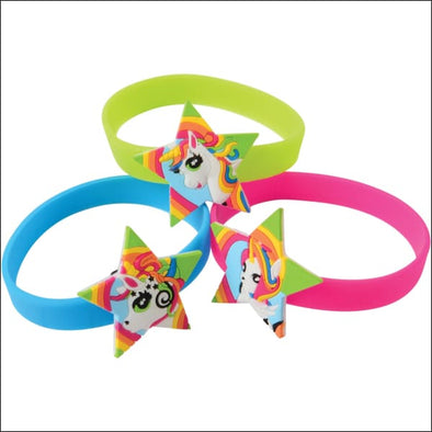 Unicorn Rubber Bracelets 12 Pack - Easter Goodie Bags & Party Favors