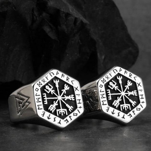 Image of Stainless Steel Hexagonal Vegvísir Ring - VikingLifestyles