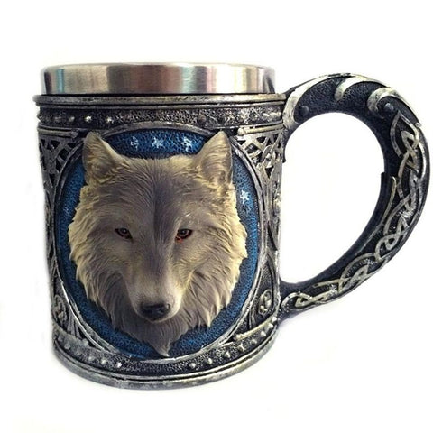 Image of Stainless Steel Wolf Mug 450ML - VikingLifestyles