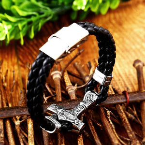 Thor's Hammer Leather Bracelet