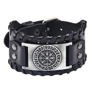 Leather Vegvísir Bracelet