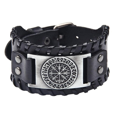 Image of Leather Vegvísir Bracelet - VikingLifestyles