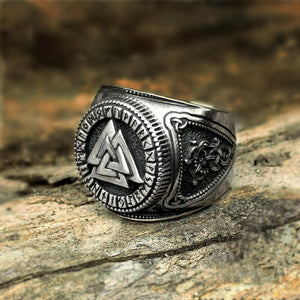 Stainless Steel Runic Valknut Ring