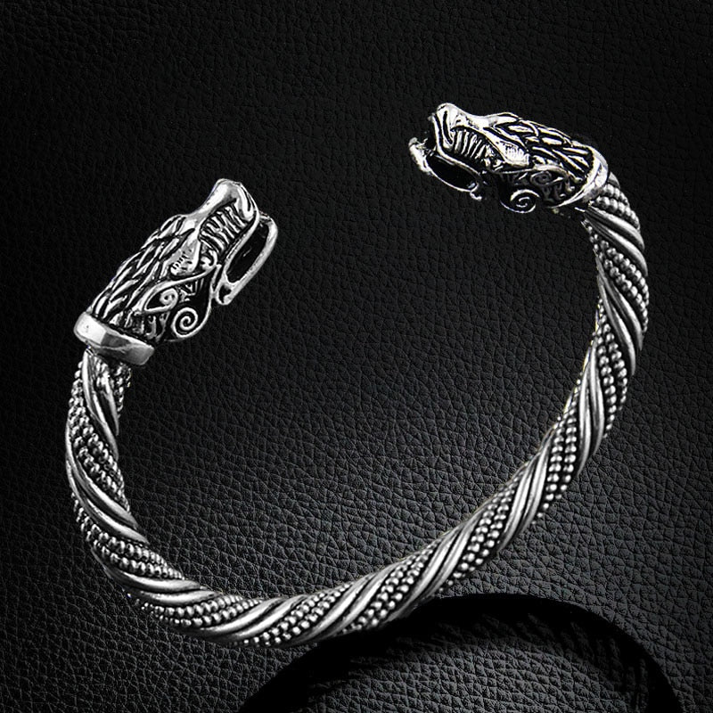 Silver Plated Ancient Dragons Bracelet - VikingLifestyles
