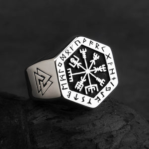 Stainless Steel Hexagonal Vegvísir Ring
