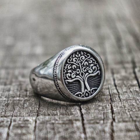 Stainless Steel Ancient Yggdrasil Ring - VikingLifestyles