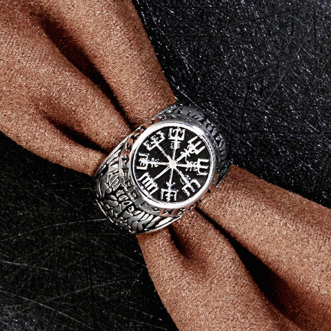 Image of Stainless Steel Vegvísir Ring - VikingLifestyles