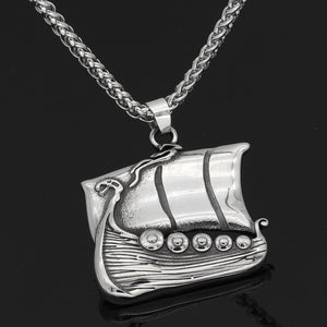 Stainless Steel Dragon Ship Necklace
