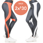 Pair White & Red Contouring Banded Heart Leggings
