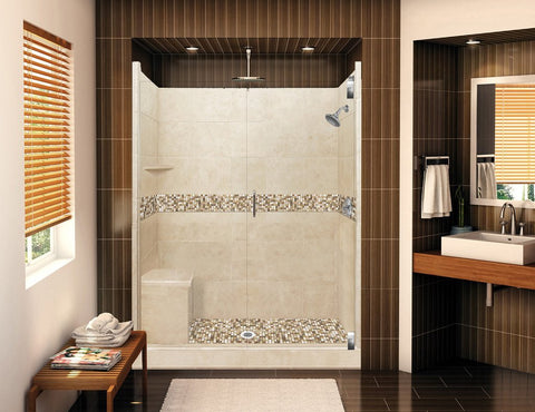 "60"" x 30"" Roma Grand Hinged Left Drain Alcove Shower Kit (Includes Pan, Walls, and Glass)"