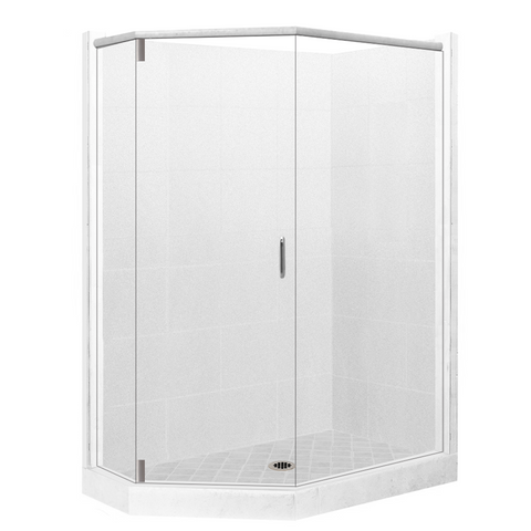 "36"" x 32"" Left Cut Neo Monterey Grand Hinged Shower Kit: Pan, Wall, & Glass"