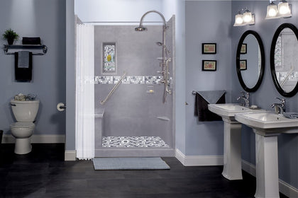 "36"" x 36"" Wet Cement Alcove Grand Hinged Shower Kit with Newport Mosaic Tiles (Includes Pan, Walls, and Glass)"