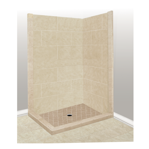 "48"" x 36"" Sonoma Left Threshold Corner Basic Shower Kit (Includes Pan and Walls)"
