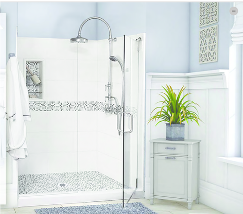 "60"" x 36"" Del Mar Alcove Grand Slider Shower Kit with Natural Buff Mosaic Tiles and a Centered Drain (Includes Pan, Walls, and Glass)"