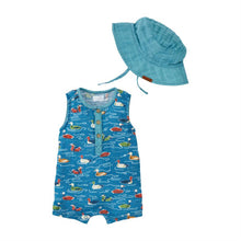 Load image into Gallery viewer, Mallard Pond Romper With Hat