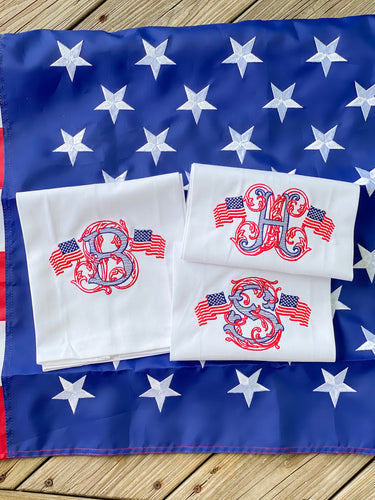 Patriotic Monogram Towel - Pizzaz home