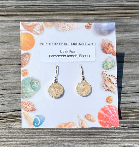 PENSACOLA BEACH SHELLS CIRCLE DROP EARRINGS