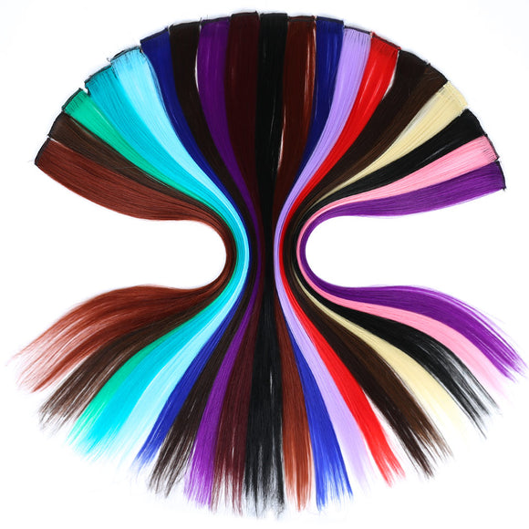 JINKAILI WIG Colorful Clip in Hair Long Straight Women High Temperature Synthetic For Women Extensions  Pieces