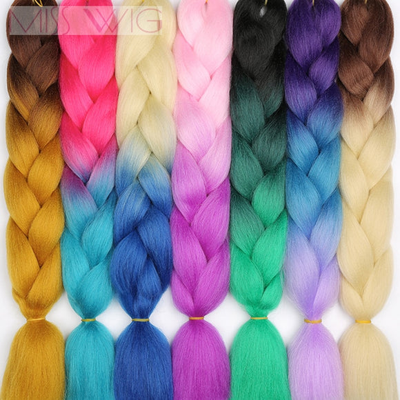 Miss Wig Ombre Kanekalon Crochet Hair Jumbo Braids Hair Synthetic Hair Extensions For Women Pink Red Blue 102 Colors Available