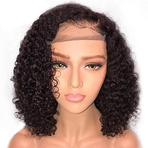 Curly Lace Frontal Wig Plucked With Baby Hair Brazilian 180% Density Lace Front Human Hair Wigs