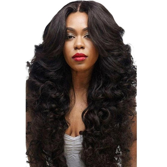 56cm Deep Parting Lace Front Human Hair Wig Curly Wavy 250% Density Indian Virgin Hair Lace Frontal Wig Remy 9A Black Wig